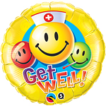 Get Well Soon (Gute Besserung) - Smiley Folienballoon - 46cm