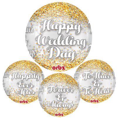 """Happy Wedding Day"" Konfetti-Ballon 63,5cm"