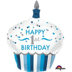 "1. Geburtstag - ""Happy 1st Birthday"" Blauer Muffin Ballon 74cm"