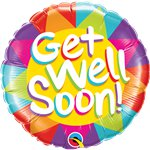 """Get Well Soon"" gute Besserung Bunter Folienballon 46cm"