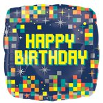 """Happy Birthday"" Blauer Pixel Folienballon 46cm"