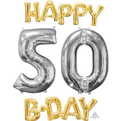 """Happy 50th Birthday"" Goldene & silberne Folienballons Set 66cm"