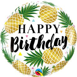 """Happy birthday"" Goldene Ananas Folienballon 46cm"