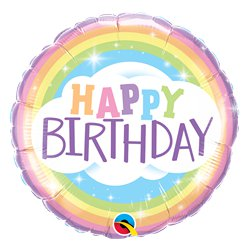 """Happy Birthday"" Runder Regenbogen Geburtstag Folienballon 46cm"