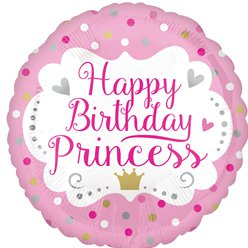 """Happy Birthday Princess"" Geburtstag Folienballon 46cm"