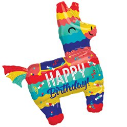 "Bunter Piñata ""Happy Birthday"" Geburtstag Folienballon 84cm"