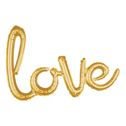 "Goldener ""Love"" Folienballon in Wortform 79cm"