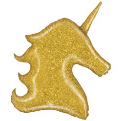Golden glitzernder Einhorn Folienballon 97cm