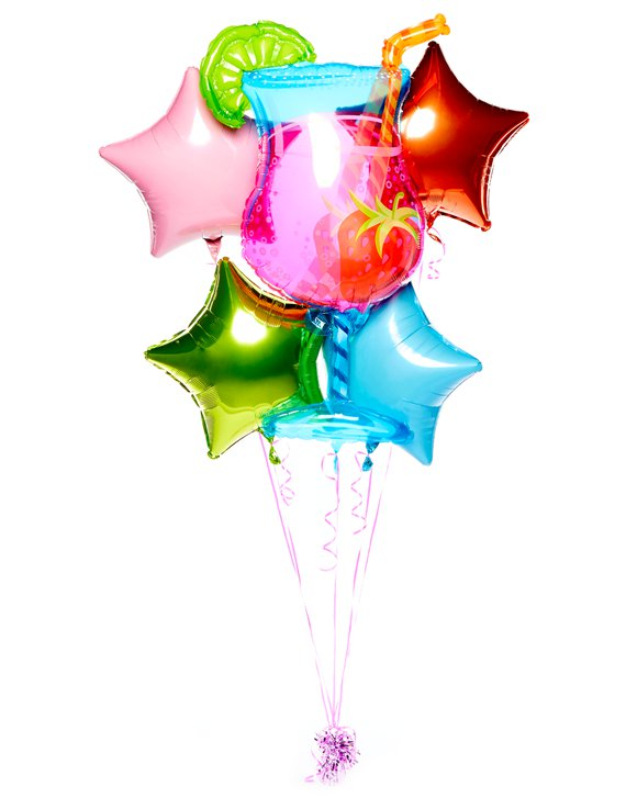 Tropischer Cocktail Ballon-Bouquet - Gemischte Folienballons