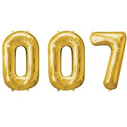 """007"" Goldene Folienballons in Zahlenform Set 86cm"