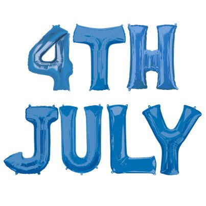 """4th July"" Blaue Folienballons in Buchstabenform Set 41cm"