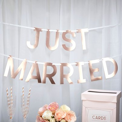 "Symmetrie in Rotgold - ""Just Married""-Girlande 1,5m"