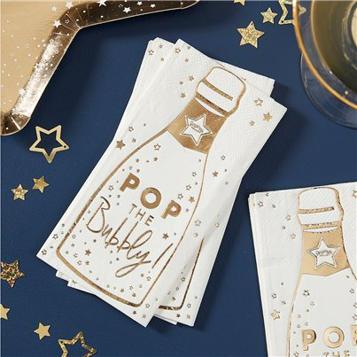 "Goldener Glanz - ""Pop The Bubbly"" Papierservietten 16,5cm"