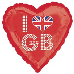 I Love GB Rotes Herz Folienballon 46cm