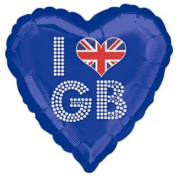 I Love GB Blaues Herz Folienballon 46cm