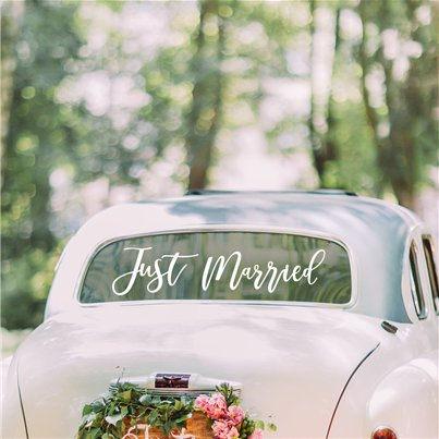 "Hochzeit in Gold - ""Just Married""-Autoaufkleber"