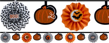 Halloween Girlande mit glitzernden Fächern 3,6m