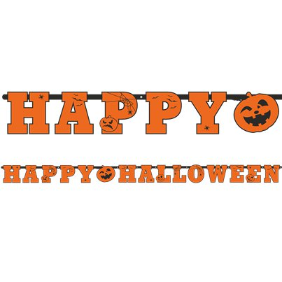 "Orange ""Happy Halloween"" Girlande 2,1m"