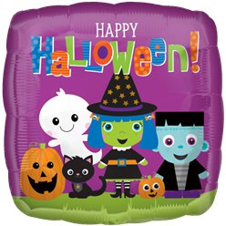 """Happy Halloween"" Niedliche Monster Folienballon 46cm"