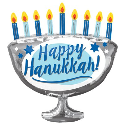"""Happy Hanukkah"" Menorah Folienballon 66cm"