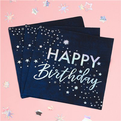 "Schillernde folierte ""Happy Birthday"" Papierservietten 33cm"