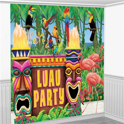 Hawaii Party Hintergrund Raumdeko-Set 3,7m