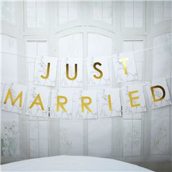 "Graviertes Marmor - ""Just Married"" Girlande 2,5m"