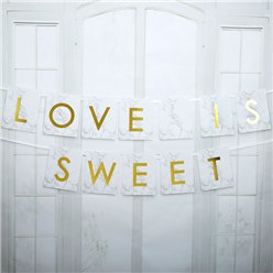 "Graviertes Marmor - Candy Bar ""Love is sweet"" Girlande 2m"