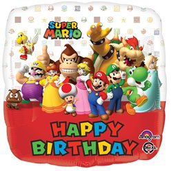 "Super Mario - ""Happy Birthday"" rechteckiger Folienballon 46cm"