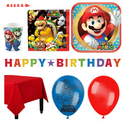 Super Mario - Premium Party Deko Set - Für 16 Personen