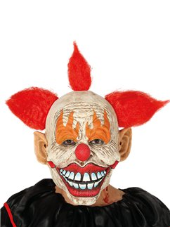 Horror Clown Latexmaske mit Haar