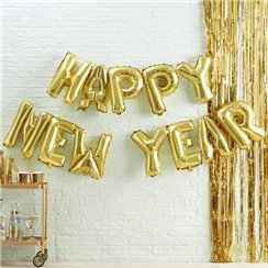 "Metallischer Stern - ""Happy New Year""-Ballongirlande 33cm"
