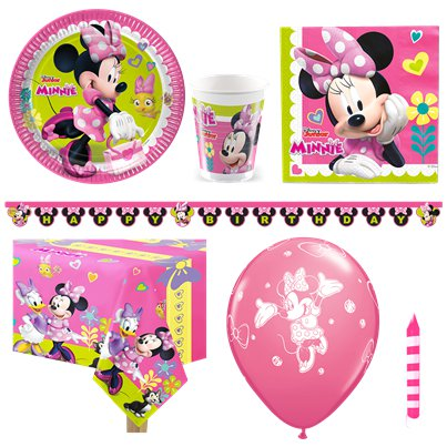 Minnies kleine Helfer - Premium Minnie Maus Party Deko Set - Für 8 Personen
