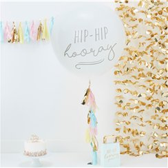 "Pastellfarbener Mustermix - Riesiges ""Hip Hip Hooray"" Latexballon-Set 91cm"