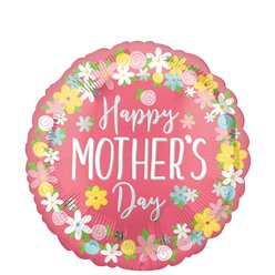 "Muttertag ""Happy Mother's Day"" Floraler runder Folienballon 46cm"