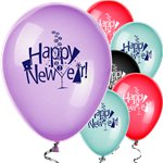 """Happy New Year"" - Verschiedenfarbige Luftballons aus Latex 30cm"