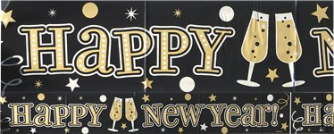 "Silvester - ""Happy New Year"" Folienbanner 2,7m"