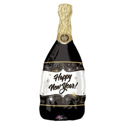 Happy New Year! Sektflasche Folienballon 91cm