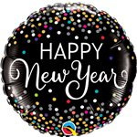 """Happy New Year"" Silvester Folienballon mit Konfettimuster 46cm"