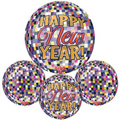 Happy New Year - Diskokugel Ballon von Orbz 41cm