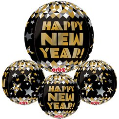 "Silvester - ""Happy New Year"" gold-schwarzer Ballon von Orbz 41cm"