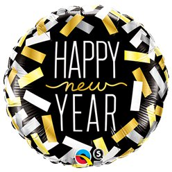 """Happy New Year"" Konfetti Folienballon 46cm"