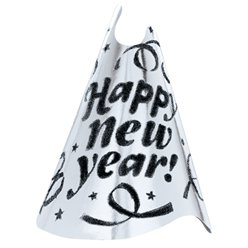 """Happy New Year"" Partyhut aus silberner Folie 23cm"