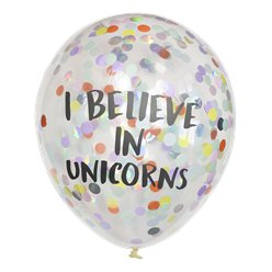 "Pastellfarbene ""I Believe in Unicorns"" Konfettiballons aus Latex 30cm"