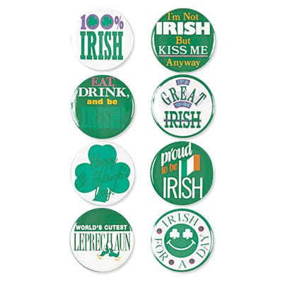 St.Patricks Day Buttons 4cm