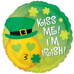 "St. Patrick's Day - ""Kiss Me!"" Emoticon Folienballon 46cm"