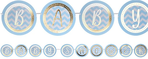 Pastellene Muster - Blaue Baby Shower Girlande 2,5m
