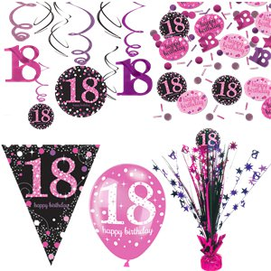 Pinker 18. Geburtstag - Premium Party Deko Set