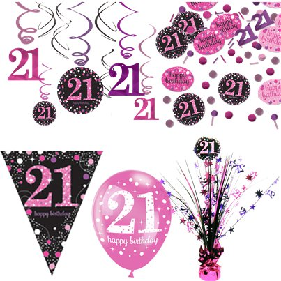 Pinker 21. Geburtstag - Premium Party Deko Set