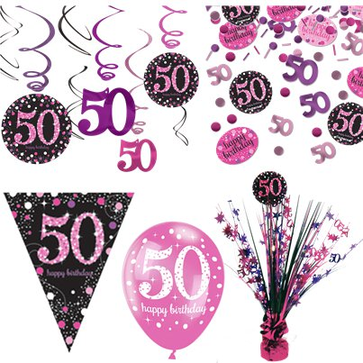 Pinker 50. Geburtstag - Premium Party Deko Set